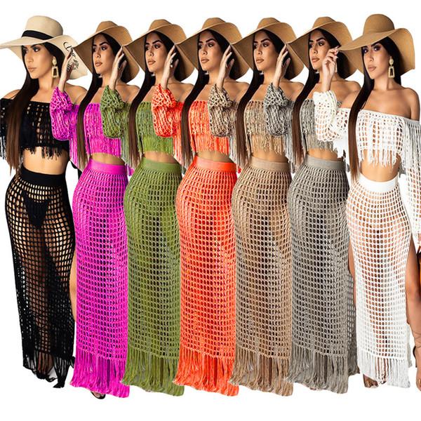 Damen Sexy Strandanzug Langarm Strand Outfits Frauen Sommer Zweiteiler Casual Aushöhlen Quaste Crop Top + Split Maxi Röcke Trainingsanzug