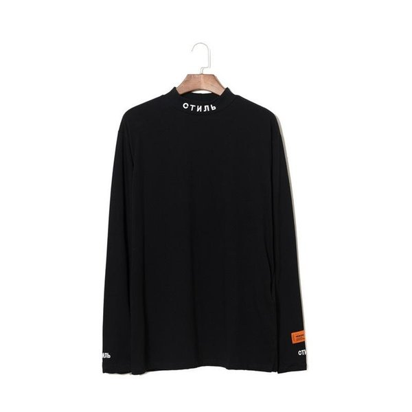 The European and American Popular Logo HERON PRESTON Hoodies Small High Collar Embroidery Base Shirt Long Sleeve T - Shirt for Men and Women