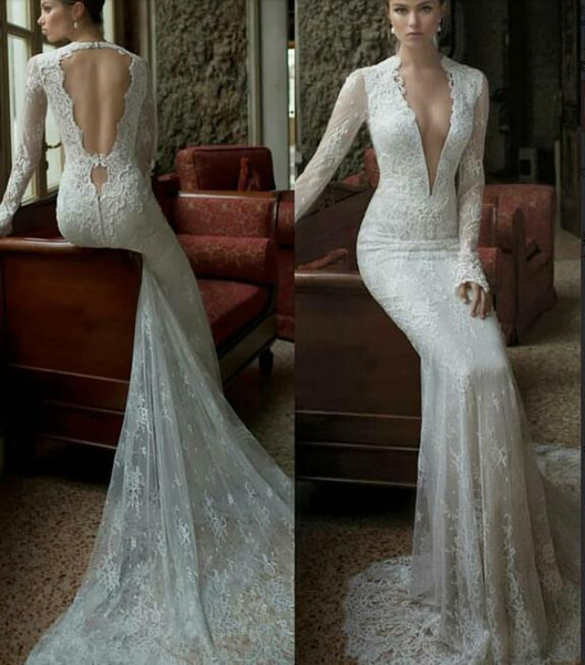 2019 Spring Summer Lace Wedding Dresses Sexy Mermaid Long Sleeve Bridal Gowns Vestido De Noiva Gorgeous Wedding Gowns Designer Wedding Dress Online