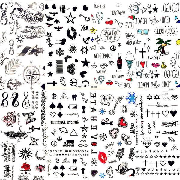 800 Arten Heiße Kleine Sexy Lippen Blatt Schwarz Cartoon Tattoo Aufkleber Nette Stern Tattoo Aufkleber Liebe Frauen Körper Finger Kunst Wasserdichte Tatoo Kid