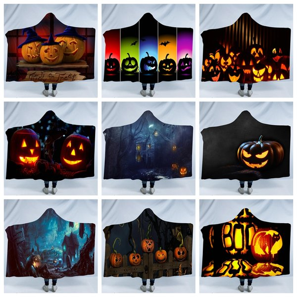 Hallowmas Sherpa Hooded Thorw Blanket 150*200cm 3D Printed Kids Winter Plush pumpk Hallowee Cloak Cape Shawl sofa throw Fleece Wrap LJJA3024