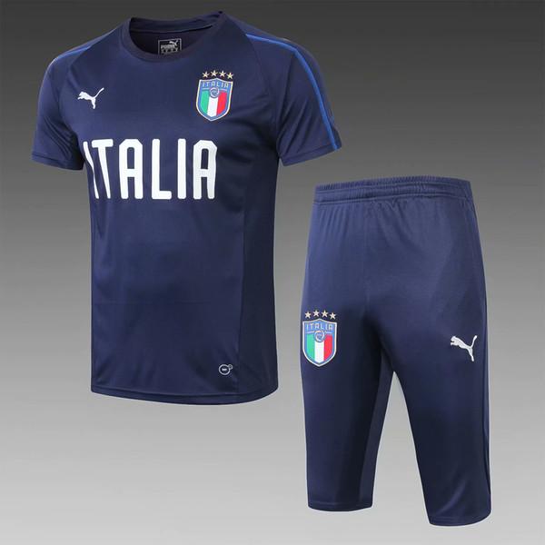 top new18 19 Italy bule De Rossi tracksuits Balotelli Barzagli 2018 2019 home away jacket soccer jerseys Buffon short sleever training suits