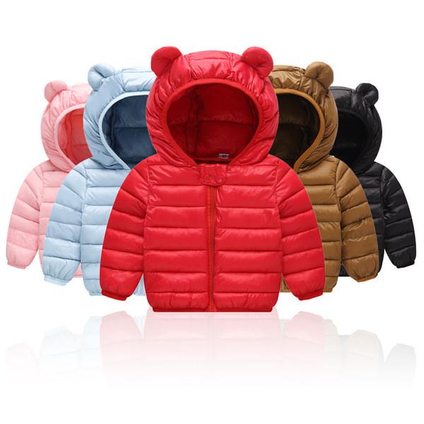 Baby Boys Girls Warm Coat Winter Cute Bear Ears Hooded Outwear Clothes Children Clothing Kids Outwear Outfits Baby Designer clothing M482
