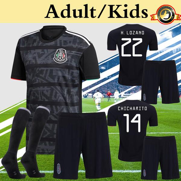 Mexique Enfants Adultes Hommes Kit 2019 Gold Cup Soccer Jersey Enfants Garçon Uniformes De Jeunesse Ensemble Plus 10pcs Livraison DHL Gratuit