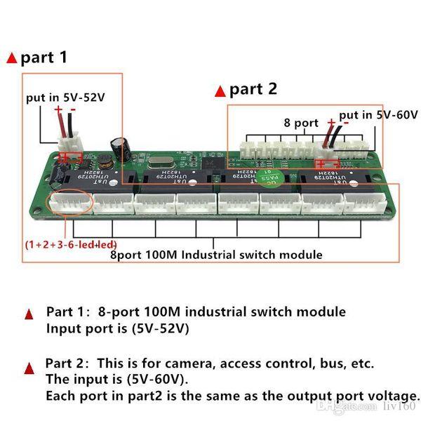 grado industriale 10 / 100Mbps temperature bassa potenza 8 porta cablaggio splitter mini perno typeFor controllo dell'accesso telecamera pullman