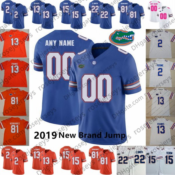 Personalizado Florida Gators 2019 Novo Salto de Futebol Qualquer Número Nome Azul Laranja Branco # 81 Aaron Hernandez Franks Toney Perine Tebow Pierce Jersey