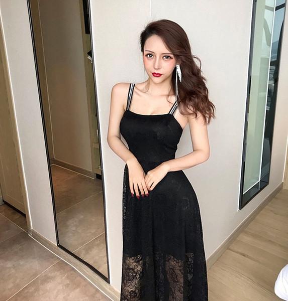 Summer 2019 New Women Sexy Ball Gown Lace Stitching Empire Sling Fairy Dress Banquet Evening Dress Long Skirt QC0212