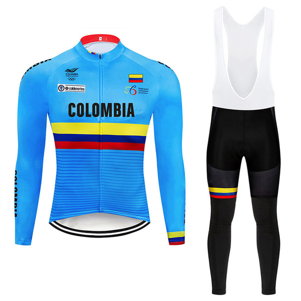 Tour De France 2019 pro team Colombia Cycling Jersey Winter thermal fleece cycling clothes 9D padded bib pants kit