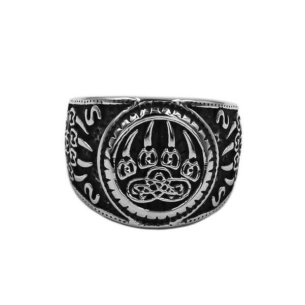 Free shipping Vikings Norse Amulet Bear Paw Ring Stainless Steel Jewelry Celtic Knot Charms Claws Motor Biker Mens Ring 889B