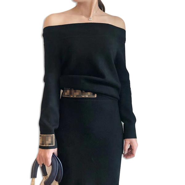 F Lettre Noir Femmes Tricoté Ensemble 2018 Automne Hiver Dame Sexy Col Slash Pull Tops Marron Noir Ff Style Jupe Deux Pièce Costumes