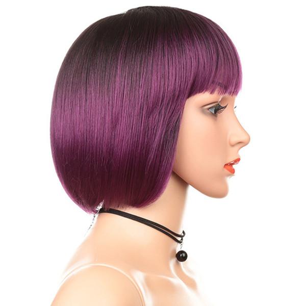 Nueva llegada Ombre Purple Hair 10 '' Short Bob Wig With Bangs Pelo sintético Resistente al calor Simular cabello humano Pelucas sintéticas Cosplay Pelucas
