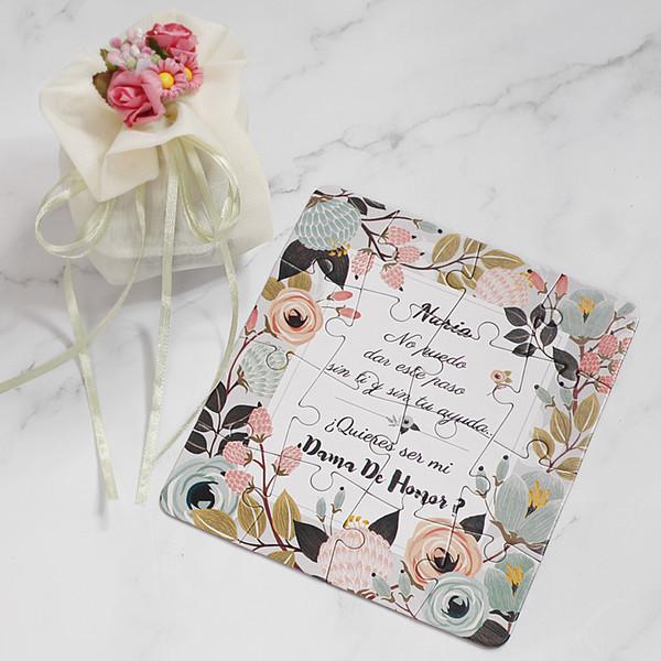 Original personalizada del padrino de la dama Propuesta rompecabezas regalo Cualquier texto de idiomas! Invitaciones decoración de la boda tarjeta