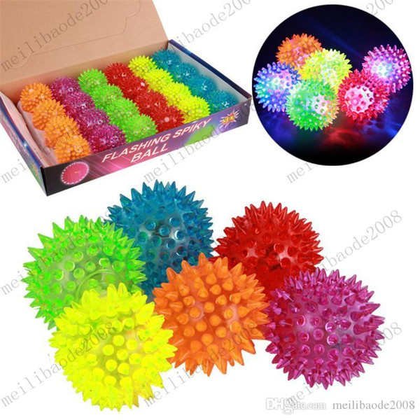 top popular Soft Rubber Flash Ball LED Toys Hedgehog Ball Bouncing Barbed Ball Led Flash Pet Toys Christmas Birthday Festival Gift MYY9839A 2019