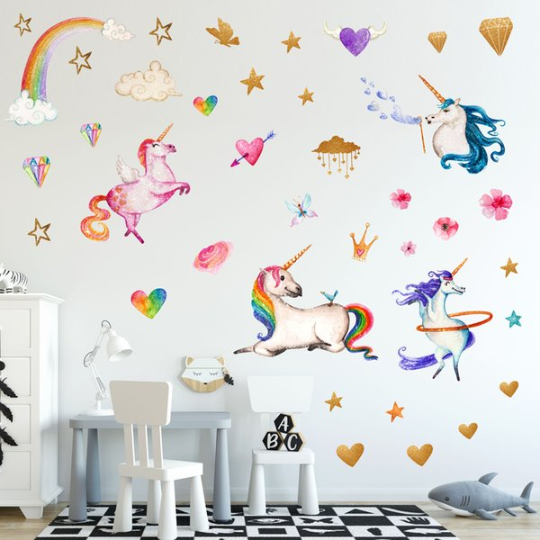 36*60cm Children Rainbow Unicorn Wall Stickers Girls Love Heart Pink Stars  Pvc Sticker Design Kids Bedroom Decorations Home Decor Wall Decor Baby Wall  ...
