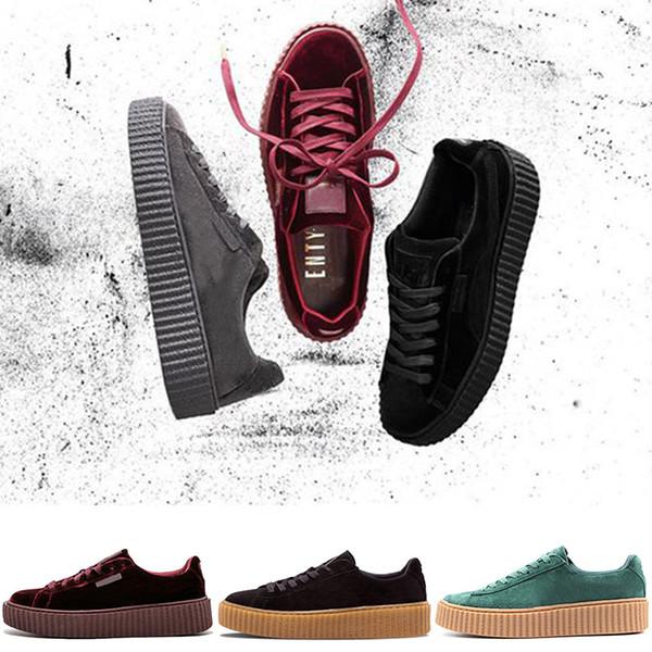 2019 Rihanna Fenty Creeper PM Classique Panier Plate-Forme Chaussures Casual Chaussures De Velours En Cuir Craquelé Daim Hommes Femmes Styliste De Course Running Sneakers