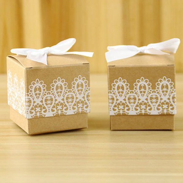 Cheap Lace Wedding Brown Paper Favor Boxes Party Gift Bags for Wedding Supplies Cute Gift Boxes