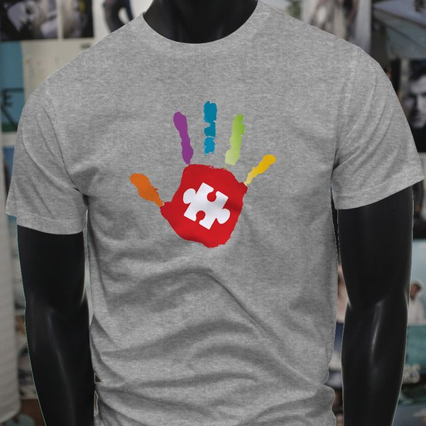 Together Love Support Autism Awareness Hand Mens Gray T-Shirt Tees Custom Jersey t shirt hoodie hip hop
