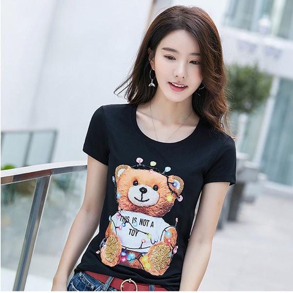 Sommer New Bear Cartoon Printed Handmade Kurzarm Plus Size T-Shirt für Frauen