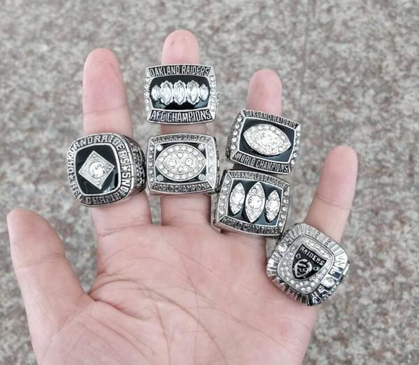 Fine 6 PCS Sets 1967 1976 1980 1983 2002Auckland Raids American Football Championship Ring 6piece/set