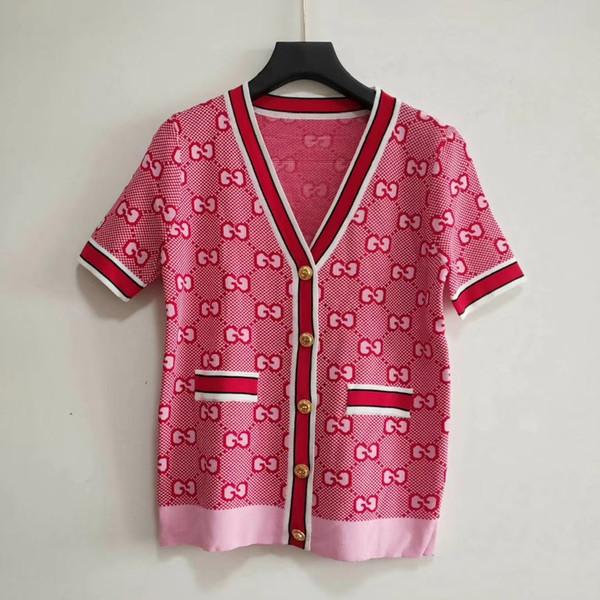 Milan Runway Sweater 2019 V-Neck Short Sleeve High End G Letter Jacquard Cardigan Women Designer Sweater 050904