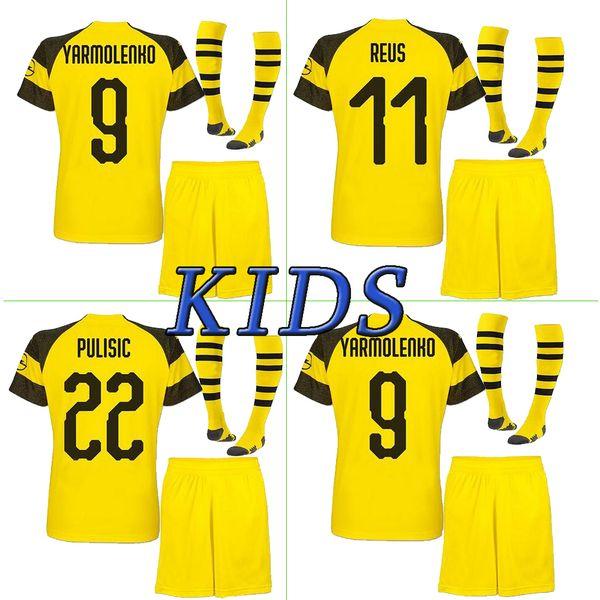 315bfdd45 2018 2019 kids kit Borussia Dortmund home soccer jersey uniform 18 19 REUS  PULISIC M.