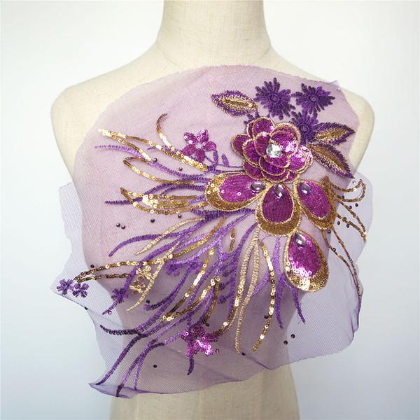 Purple Gold Sequins 3D Fleurs Gland Dentelle Garnitures Strass Maille Coudre Sur Des Patchs De Broderie Pour Le Mariage Appliques Robe Décoration DIY