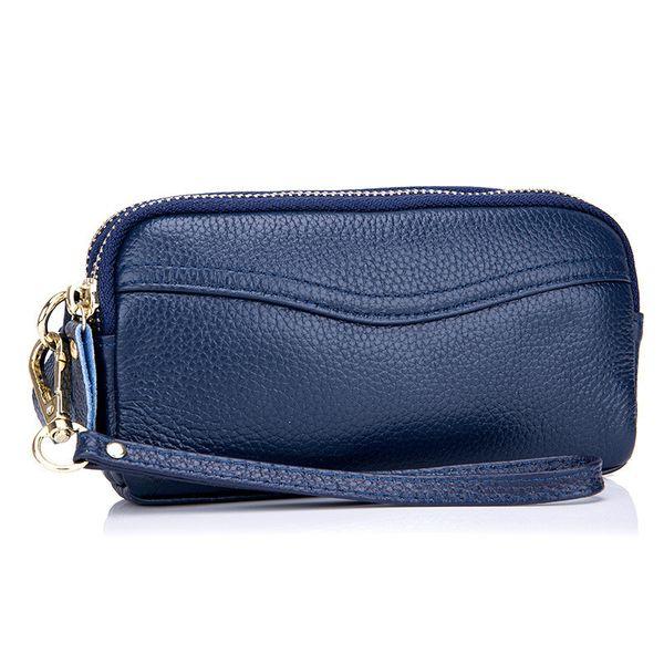 Frauen kupplung aus echtem leder handtaschen geldbörse handytasche handtasche doppelreißverschluss telefon case wristlet brieftasche qb229