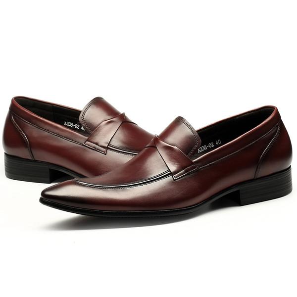 2019 NOUVEAU chaussures habillées populaire mode en cuir véritable de haute qualité célèbre marque concepteur d'affaires hommes Oxford chaussures