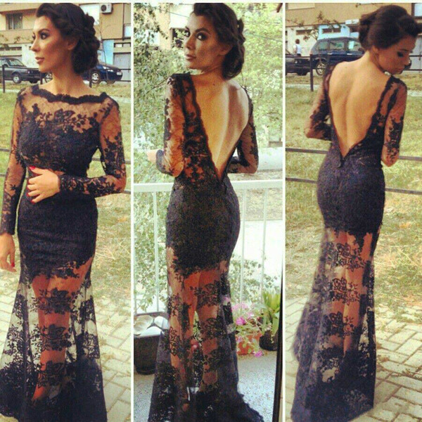 Vintage Black Lace Long Sleeve Prom Evening Gowns Sexy Backless Mermaid Formal Party Dresses Full Length Cheap Arabic Women Gowns Vestidos