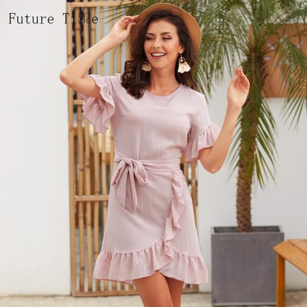Tiempo Futuro Sólido Elegante Boho Mini Vestido de Las Mujeres 2019 Remiendo Del Verano Vendaje Vestidos Sexy Volantes Vestido Bodycon Dulce Señora F576