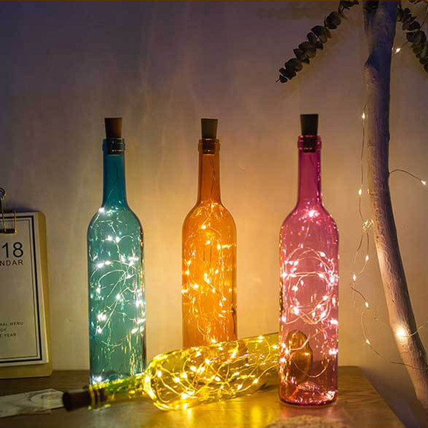 best selling Glass Wine Bottle Lamp With 2M 20LED Copper Wire String Lights Cork Shaped Bottle Stopper Light Party Wedding Home Decor Gift DBC DH0944