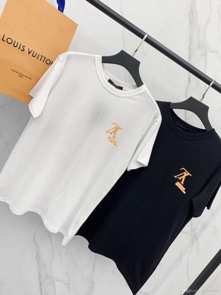 19ss nuovo marchio di design di lusso Logo giallo Stampa manica corta Tee Shirt Uomo Donna Sup Stunning T-shirt Streetwear Fashion Outdoor