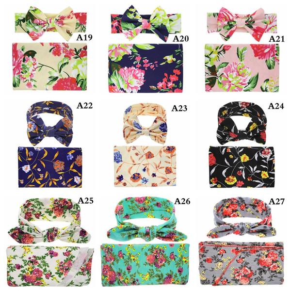 top popular 30styles Kids Muslin Swaddles Ins Wraps Blankets Nursery Bedding Newborn Organic Cotton Ins Floral Print Swaddle + Headband two piece sets 2020