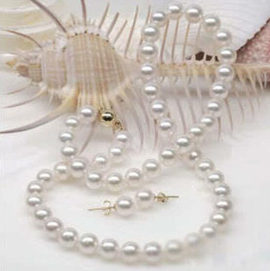 Jewelryr Pearl Set Genuine 8-9MM White Akoya Cultured Pearl Necklace Earrings Free Shipping