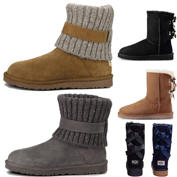 UGG WGG Australia women boots Hermosa moda Australia botas de invierno mujer castaño negro azul rosa café botas de nieve de alta calidad para mujer tobillo rodilla botas 36-41