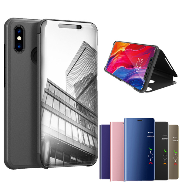 Official Metallic Plating Smart Mirror Window Stand Flip Cover Case For Xiaomi Mi 9 SE 8 6X A1 Mix Max 3 Redmi Note 7 6 Pro 5 Plus S2 Y2