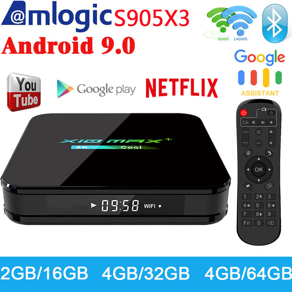 X10 MAX PLUS 4 Гб 64GB Android TX3 9,0 TV Box Dual WiFi Bluetooth Amlogic S905X3 TV Box 8K Media Player P X96 AIR
