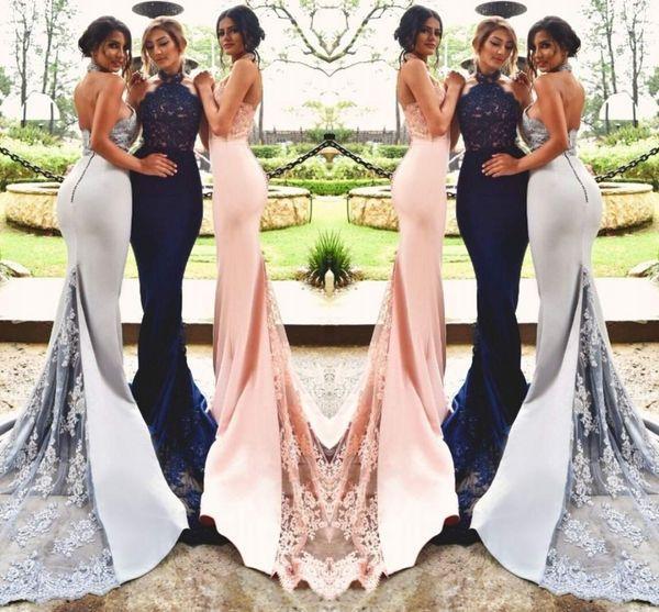 Sirena modesta Apliques de abalorios Cuentas Sin espalda Trompeta Azul marino / Colorete / Plateado Vestidos de dama de honor Vestidos de fiesta de boda
