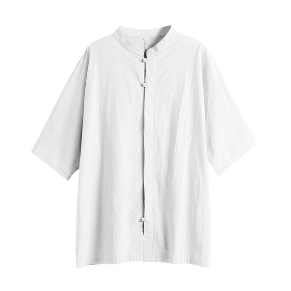 Short Sleeve Cotton Shirt Plus Size Men Casual Henley Shirt Pure Color Stand Collar Simple Loose Clothes L-5XL Blouse /PT