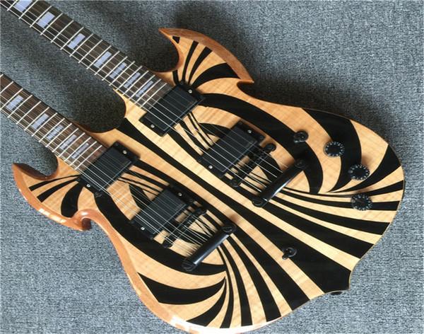 Grátis Custom Shop Duplo amarelo Guitarra elétrica do pescoço 6/12 cordas hardware Guitars Chrome HOT