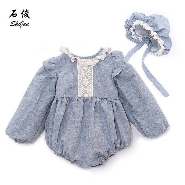Shijun Spain Style Linen Lace Baby Girl Romper With Bonnet Set Q190520