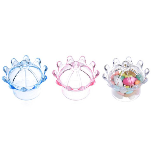 12pc/lot Crown Shaped Candy box Mini Plastic Favor Holders for Wedding Birthday Christmas party decoration