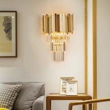 2019 Luxury living room wall sconce lighting gold/chrome polished steel crystal wall lamp bedroom hallway led cristal wall lights
