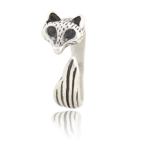 New Arrival Vintage Silver Adjustable Cute Animal Fox Ring Simple Mid Finger Couple Wedding Rings For Women Gilrs Kids Party Gift Bulk