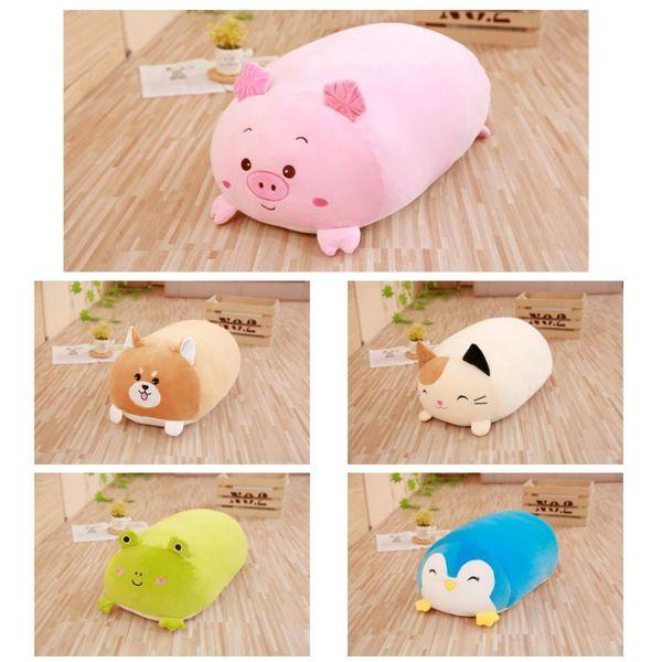60cm Cute Fat Cat Shiba Inu Dog Penguin Pink Pig Plush Toy Stuffed Soft Kawaii Animal Cartoon Pillow Lovely Gift For Kids