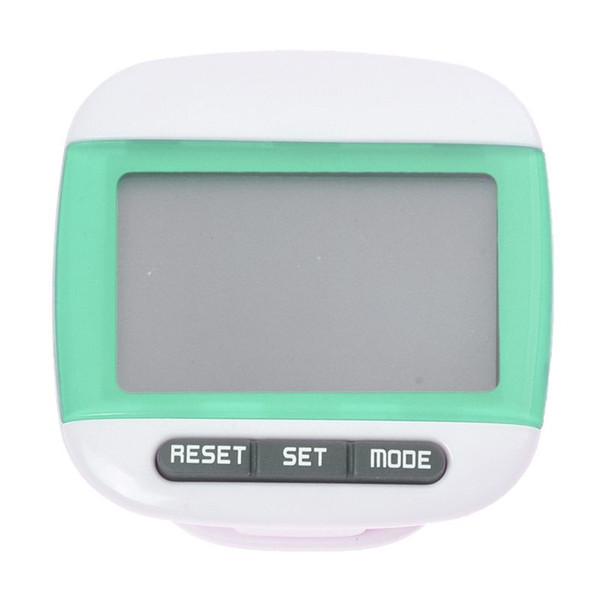 New Multi-function Pedometer Distance Calorie Counter 5 Steps Buffer Error Correction Large LCD Display with Belt,Green
