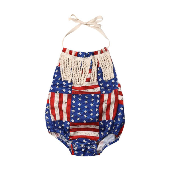 New 4th Of July Infant Baby Boy Girl Cotton Tassels Jumpsuit Bodysuit Clothes Outfit Sets