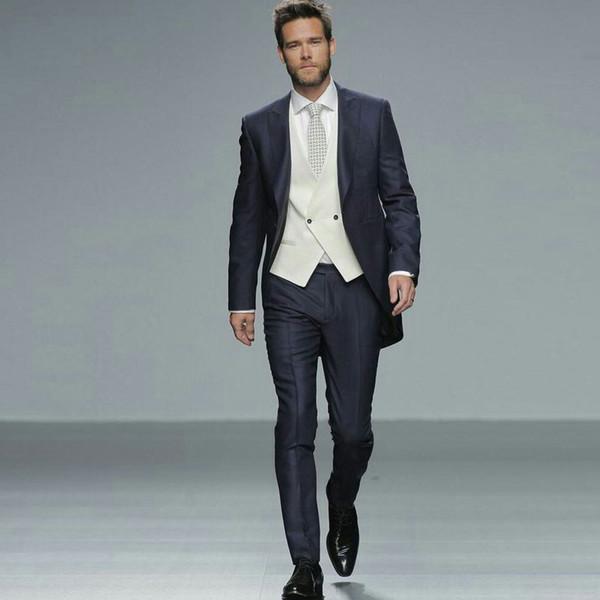 Navy Blue Stage Men Suits Wedding Suits Groom Wear Tuxedo Blazer Jacket 3Piece Vest Pants Slim Fit Formal Best Man Costume Evening Party