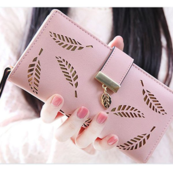 Out leaf Women Wallet long HASP PU leather women purse korean style ladies wallet clutch beautiful 2019 card holder