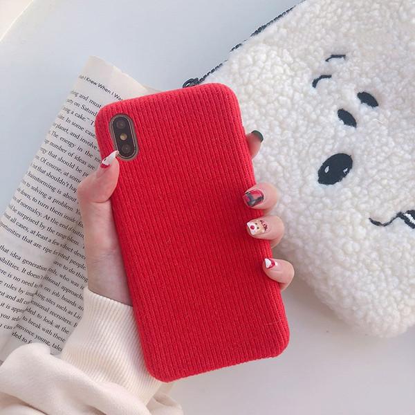 Yunrt xadrez vermelho do vintage caso de pelúcia pura listra tecido case para iphone xs max xr 6 s 7 8 plus x simples tpu caso tampa traseira